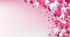 Rosa weißer Ballon-und Konfetti-Herz-Titel stock abbildung