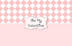 Rosa weißer Valentine Card Lizenzfreies Stockfoto