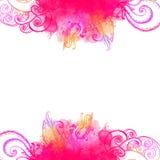 Rosa Wellenrahmen mit Gekritzeln und Aquarellfarbe Stockbilder