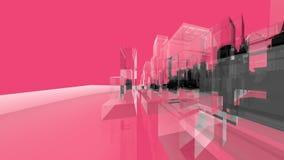 Rosa Wireframe-Architektur-Kreativitäts-Konzepte lizenzfreie abbildung