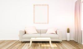 rosa Wohnzimmer mit Rahmenmodell lizenzfreies stockbild