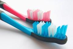 Rosa y cepillos de dientes azules en el fondo blanco Tomar el cuidado de dientes, concepto dental foto de archivo