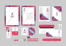 Rosa y gris con la plantilla de la identidad corporativa del triángulo para su negocio Imagen de archivo