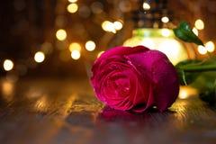 Rosa y linterna rojas con las luces en una tabla de madera foto de archivo