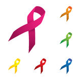 Rosa y otras cintas del color, ico del vector de la conciencia del cáncer de pecho Imágenes de archivo libres de regalías