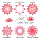 Rosado-flor-sistema-logotipo-icono-floral-aroma Fotos de archivo