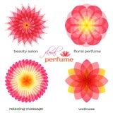 Rosado-flor-sistema-logotipo-icono-floral-fragancia Imagenes de archivo