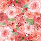 Rosado y rojo florece el fondo Stock de ilustración