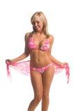 Rosafarbene Bikini-Blondine stockbild