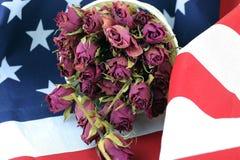 Rosafarbene Blume US-Flagge Lizenzfreie Stockfotos