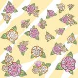 Rosafarbene Blumen des Musters auf einem beige Hintergrund Stockfotos