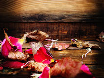rosafarbene Blumenblätter Autumn Leaves Vase mit trockenen Blättern, Apfel und Kerzen auf dem Rausschmiß Auf einer hölzernen Besc lizenzfreie stockfotografie