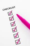 Rosafarbene Checkliste Lizenzfreies Stockbild