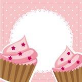 Rosafarbene Cupkuchen Stockbilder