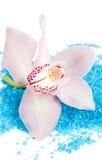 Rosafarbene Cymbidium-Orchidee und aromatisches Badesalz Stockfotografie