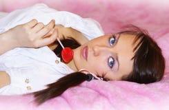 Rosafarbene Dame Stockfoto