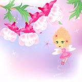 Rosafarbene Fee mit Blumen Stockfotos
