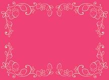 Rosafarbene Felder mit Erdbeere stock abbildung