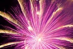 Rosafarbene Feuerwerke stockfotos