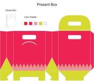 Rosafarbene Geschenkkastenschablone. Stockfoto
