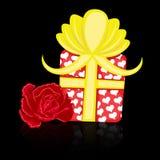 Rosafarbene Geschenkliebe der Valentinsgrußtageskarte Stockfotos