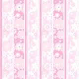 Rosafarbene gestreifte mit Blumentapete Lizenzfreie Stockfotos