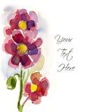Rosafarbene handgemalte Blumen lizenzfreie abbildung