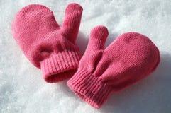 Rosafarbene Handschuhe stockfoto
