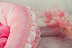 Rosafarbene Haustiermatratze der Nahaufnahme im Raum Lizenzfreie Stockfotografie