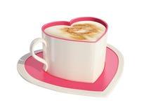 Rosafarbene heart-shaped Kaffeetasse mit Saucer Stockfoto