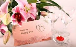 Rosafarbene Hochzeits-Karte Lizenzfreies Stockbild