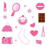 Rosafarbene Ikonen und Elemente der Mädchen getrennt auf Weiß stock abbildung