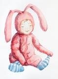 Rosafarbene Kaninchen tragen nicht blaue Socken. Lizenzfreie Stockfotografie