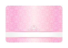 Rosafarbene Karte mit Weinlese-Muster Lizenzfreie Stockfotos