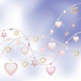 Rosafarbene Perlen, Sterne und Innere Stockfoto