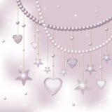 Rosafarbene Perlen, Sterne und Innere auf einem hellen backgroun Stockbild