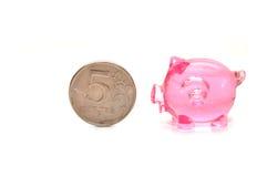 Rosafarbene piggy Querneigung Lizenzfreie Stockfotografie