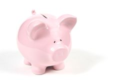 Rosafarbene Piggy Querneigung auf weißem Hintergrund 2 Lizenzfreie Stockbilder