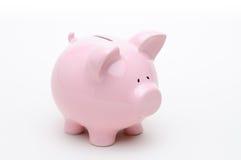 Rosafarbene Piggy Querneigung getrennt auf Weiß Stockfotografie