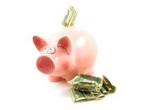Rosafarbene piggy Querneigung mit Dollargeld Stockfoto
