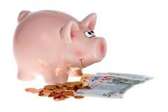 Rosafarbene piggy Querneigung mit Eurobanknoten lizenzfreies stockbild