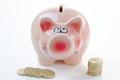 Rosafarbene Piggy Querneigung mit Geld Lizenzfreies Stockfoto