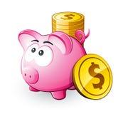 Rosafarbene piggy Querneigung mit Münzen stock abbildung