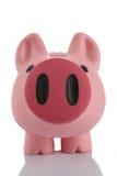 Rosafarbene Piggy Querneigung (moneybox) Stockbild