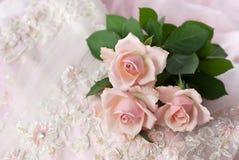 Rosafarbene Rosen auf Hochzeitsspitze (Exemplarplatz) Stockbilder