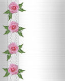 Rosafarbene Rosen und Spitzerand Stockfoto