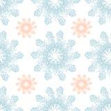Rosafarbene Schneeflocke der bunten Grafik auf einem blauen Hintergrund Nahtloses mit Blumenmuster Stockbild