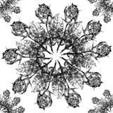 Rosafarbene Schneeflocke der schwarzen Grafik auf einem weißen Hintergrund Nahtloses mit Blumenmuster Stockfoto