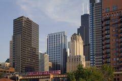 Rosafarbene Serie in im Stadtzentrum gelegenem Chicago Stockfotos