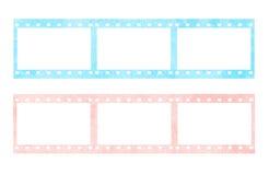 Rosafarbene und blaue Filmstreifen Stockbild